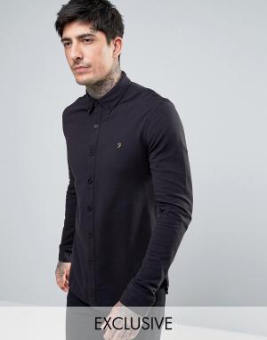 Farah Черная трикотажная рубашка из пике. Цвет: черный