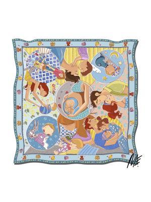 Платок с авторским арт-принтом Беби бум-блу из твилла Оланж Ассорти. Цвет: голубой, светло-желтый, сиреневый