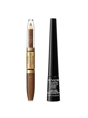 Revlon Набор: 016 карандаш и гель для бровей + подводка colorstay skinny liqui. Цвет: коричневый
