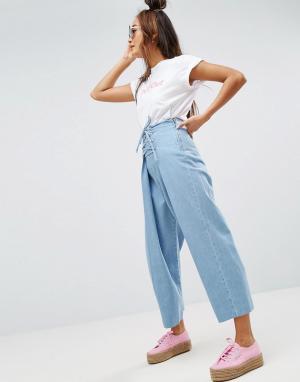 ASOS Джинсы с широкими штанинами и шнуровкой. Цвет: синий