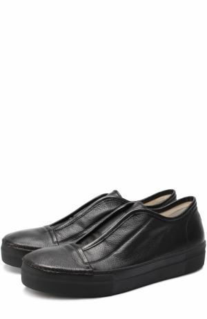 Кожаные кеды без шнуровки Rocco P.. Цвет: черный