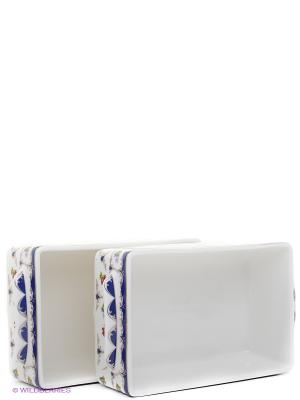 Набор 2 блюд для холодца Цветочек Elan Gallery. Цвет: белый, синий, зеленый, красный