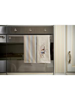 Набор полотенец кухонных Райские птицы - 2 шт., 100% хлопок. ARLONI. Цвет: светло-голубой, бежевый