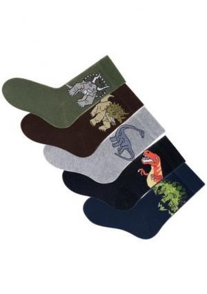 Носки, 5 пар GO IN. Цвет: набор в: 5х с рисунком динозавры