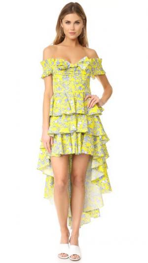 Платье Artemis Caroline Constas. Цвет: желтый мульти