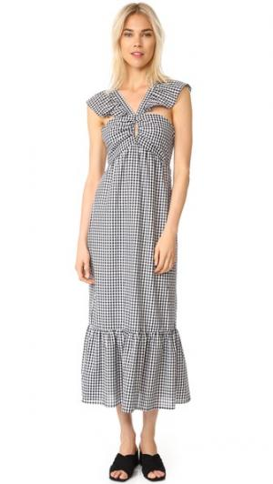 Многоярусное платье Bella с оборчатыми бретельками WAYF. Цвет: черно-белая клетка гингем