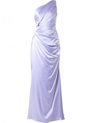 Вечернее платье на одно плечо Romona Keveza. Цвет: розовый и фиолетовый