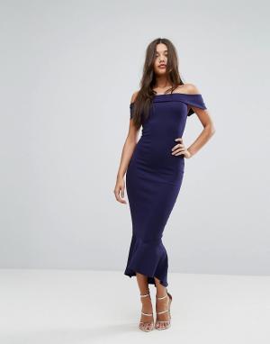 Lipsy Темно-синее платье макси с открытыми плечами. Цвет: темно-синий