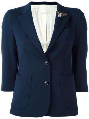 Укороченный однобортный пиджак +People. Цвет: синий