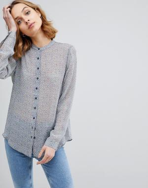 MiH Jeans Шелковая рубашка без воротника M.i.h Evelyn. Цвет: синий