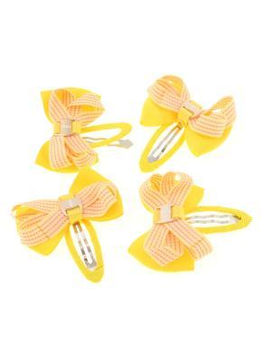 Бантики на заколке, в прерывистую полоску,  желтые, 4 шт Радужки. Цвет: желтый