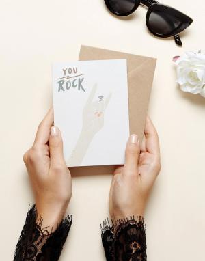 OHH DEER Поздравительная открытка в честь обручения с надписью Rock You Dee. Цвет: мульти