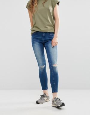 Waven Укороченные облегающие джинсы с дырками на коленях Freya. Цвет: синий