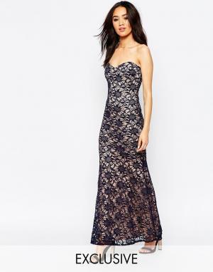Lipstick Boutique Petite Кружевное длинное платье-бандо. Цвет: темно-синий