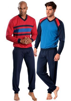 Пижама, 2 штуки LE JOGGER. Цвет: красный/темно-синий+синий/темно-синий