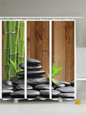 Фотоштора для ванной Цветы и стебли, 180*200 см Magic Lady. Цвет: горчичный, черный, зеленый, коричневый