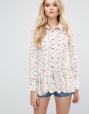 Love Рубашка с принтом и оборками. Цвет: мульти
