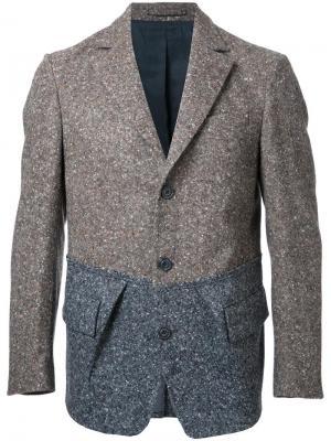 Вязаный пиджак с карманами клапанами Wooster + Lardini. Цвет: серый