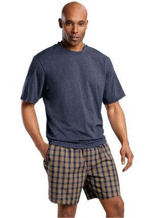 Пижама с шортами LE JOGGER. Цвет: темно-синий меланжевый в клетку