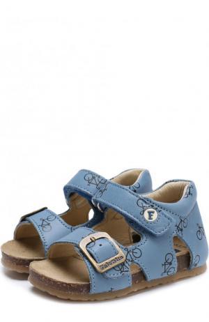 Кожаные сандалии с застежками велькро Falcotto. Цвет: голубой