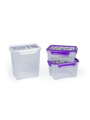 Комплект контейнеров Лаванда для СВЧ. Объем: 0,75 л., 1,1л., 1,8л. Полимербыт. Цвет: сиреневый, белый