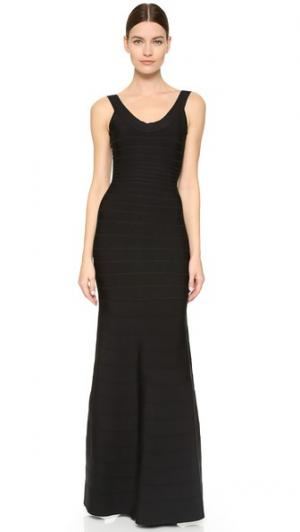 Макси-платье Ellen без рукавов Herve Leger. Цвет: голубой