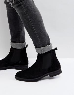 Zign Кожаные ботинки челси. Цвет: черный