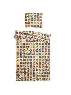 Комплект постельного белья Бабушка связала 150х200см SNURK. Цвет: бежевый, светло-желтый, зеленый