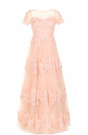 Приталенное платье-макси с цветочной отделкой Basix Black Label. Цвет: светло-розовый