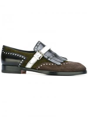 Туфли броги с бахромой Santoni. Цвет: многоцветный