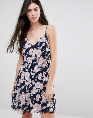 Greylin Короткое приталенное платье с принтом Serina. Цвет: темно-синий