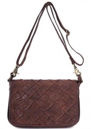 Маленькая кожаная сумка через плечо Taschendieb. Цвет: коричневый