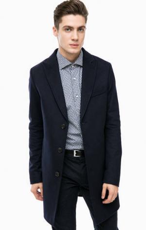 Синее пальто из шерсти Cinque. Цвет: синий