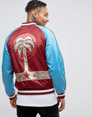 Diesel Атласная спортивная куртка с вышивкой пальмы J-BAKERY. Цвет: красный