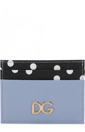 Кожаный футляр для кредитных карт с принтом Dolce & Gabbana. Цвет: голубой