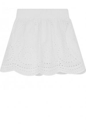 Хлопковая мини-юбка с эластичным поясом и перфорацией Stella McCartney. Цвет: бежевый
