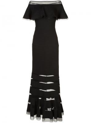 Платье с открытыми плечами Tadashi Shoji. Цвет: чёрный