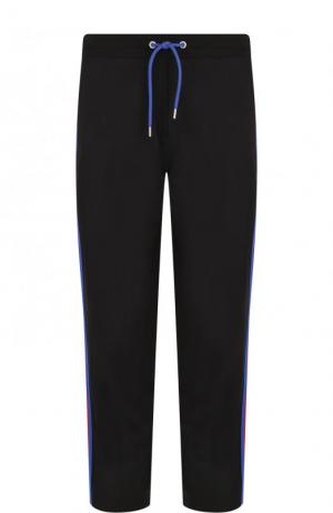 Хлопковые брюки с лампасами Dirk Bikkembergs. Цвет: черный