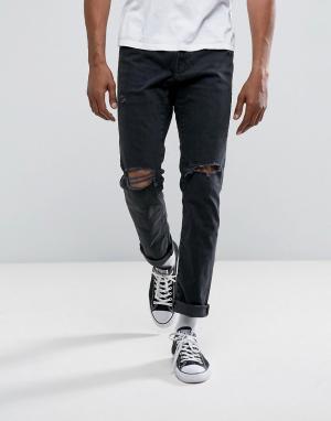 Abercrombie & Fitch Черные узкие джинсы. Цвет: черный