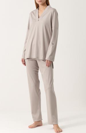 Хлопковая однотонная пижама Zimmerli. Цвет: серый