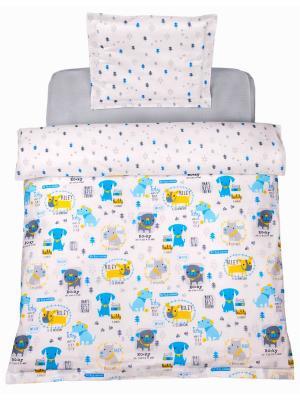 Комплект постельного белья 1,5СП Собачки DAISY. Цвет: голубой, светло-желтый, светло-серый