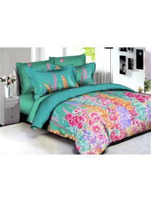 Комплект постельного белья Buenas noches Rio из люкс сатина 2-спальный. Цвет: бирюзовый, малиновый, сиреневый