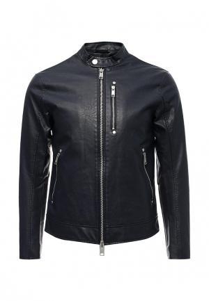 Куртка кожаная Armani Exchange. Цвет: синий
