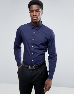 New Look Темно-синяя рубашка классического кроя из поплина. Цвет: темно-синий