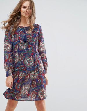 Anmol Платье-туника с кисточками на завязках. Цвет: синий