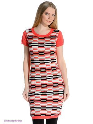 Платье PELICAN. Цвет: серый, красный
