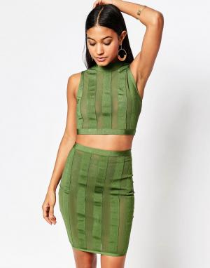 Wow Couture Кроп-топ и юбка в полоску. Цвет: зеленый