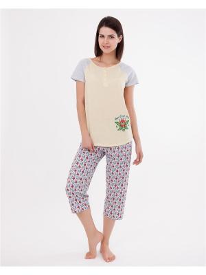 Комплект одежды: футболка, бриджи Mark Formelle. Цвет: светло-серый, светло-желтый