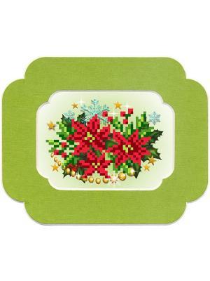Набор для вышивания с бисером и паспарту Рождество Матренин Посад. Цвет: красный
