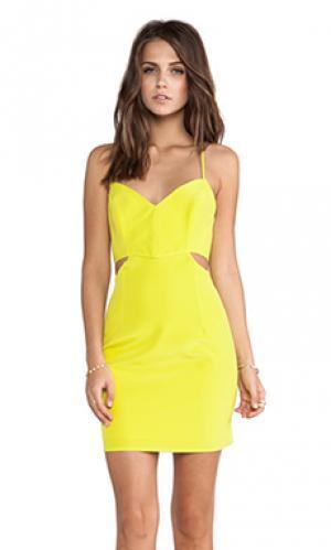 Платье с вырезами lux Naven. Цвет: желтый